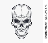 skull hand draw | Shutterstock .eps vector #584691571