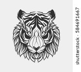 abstract head tiger hand draw | Shutterstock .eps vector #584691667