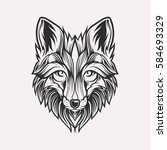 abstract head fox hand draw | Shutterstock .eps vector #584693329