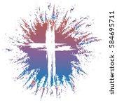 grunge style white cross on... | Shutterstock .eps vector #584695711