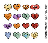 set of cute lovely emoticons.... | Shutterstock .eps vector #584702509