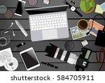 workspace of photographer. top...   Shutterstock .eps vector #584705911