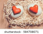 easter card with eggs and... | Shutterstock . vector #584708071