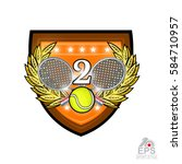 crossed rackets with tennis... | Shutterstock .eps vector #584710957
