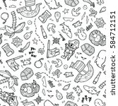 seamless vector hand drawn... | Shutterstock .eps vector #584712151