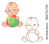 cute little baby holding rubber ... | Shutterstock .eps vector #584721745