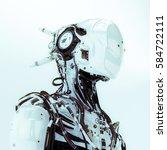futuristic robotic wired pilot... | Shutterstock . vector #584722111