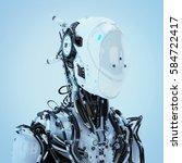 futuristic robotic wired pilot... | Shutterstock . vector #584722417