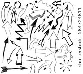 vector hand drawn arrows icons... | Shutterstock .eps vector #584724811