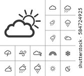sunny. weather icons with white ... | Shutterstock .eps vector #584724925