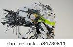 modern robot geisha in side... | Shutterstock . vector #584730811