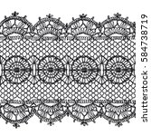 isolated crocheted lace border... | Shutterstock .eps vector #584738719