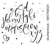 Hand lettering alphabet. Modern calligraphy font. Grunge style alphabet.Hand drawn letters.  Vector illustration