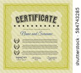 yellow certificate of... | Shutterstock .eps vector #584743285