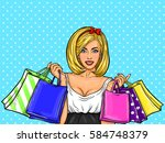 vector pop art illustration of... | Shutterstock .eps vector #584748379