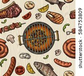 seamless pattern barbecue grill.... | Shutterstock .eps vector #584753809