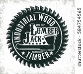 vintage woodworking logo design ... | Shutterstock .eps vector #584754565