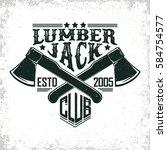 vintage woodworking logo design ... | Shutterstock .eps vector #584754577