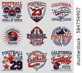 set of grunge sport t shirt... | Shutterstock .eps vector #584754907