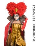 Small photo of Queen of hearts in makeup and body painting