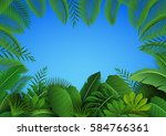 background of tropical leaves.... | Shutterstock . vector #584766361