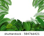 background of tropical leaves.... | Shutterstock . vector #584766421