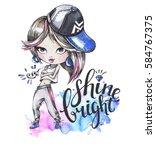 hand drawn bright illustration. ... | Shutterstock . vector #584767375