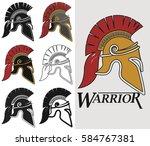 spartan helmet logo  greek... | Shutterstock .eps vector #584767381