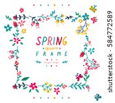 cute doodle spring square frame | Shutterstock .eps vector #584772589