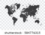 illustrated world map with the... | Shutterstock . vector #584776315