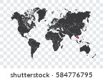 illustrated world map with the... | Shutterstock . vector #584776795