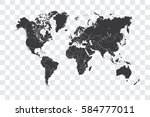 illustrated world map with the... | Shutterstock . vector #584777011