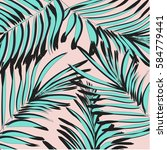 tropical palm leaf background.... | Shutterstock .eps vector #584779441