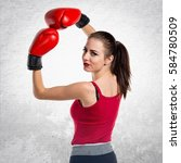 pretty sport woman with boxing... | Shutterstock . vector #584780509