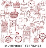 set of interior goods. hand... | Shutterstock .eps vector #584783485