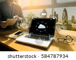 cloud computing diagram network ... | Shutterstock . vector #584787934