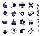 dinner icons set. set of 16... | Shutterstock .eps vector #584788345