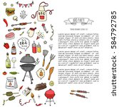 hand drawn doodle bbq party... | Shutterstock .eps vector #584792785