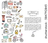 hand drawn doodle postal... | Shutterstock .eps vector #584792845