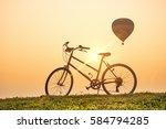 beautiful sunries silhouette... | Shutterstock . vector #584794285
