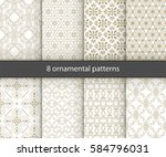 set of 8 oriental patterns.... | Shutterstock .eps vector #584796031