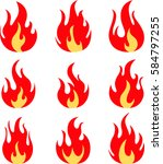hand drawn of fire flames on... | Shutterstock .eps vector #584797255