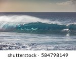 blue ocean shorebreak wave for... | Shutterstock . vector #584798149