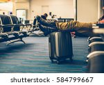 passenger with carry on luggage ... | Shutterstock . vector #584799667