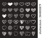 hand drawn hearts signs in... | Shutterstock .eps vector #584800879