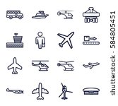 passenger icons set. set of 16... | Shutterstock .eps vector #584805451