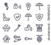 protect icons set. set of 16... | Shutterstock .eps vector #584806915