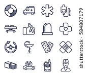 emergency icons set. set of 16... | Shutterstock .eps vector #584807179
