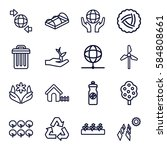 ecology icons set. set of 16... | Shutterstock .eps vector #584808661