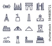 landmark icons set. set of 16... | Shutterstock .eps vector #584808721